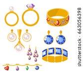traditional golden jewellery...   Shutterstock .eps vector #663056398