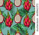 exotic seamless vector pattern. ... | Shutterstock .eps vector #663061372