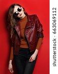 fashion model in sunglasses ... | Shutterstock . vector #663069112