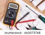 electrical construction... | Shutterstock . vector #663073768