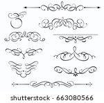 vector set of swirling... | Shutterstock .eps vector #663080566