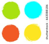 set of circle brush stroke... | Shutterstock .eps vector #663088186