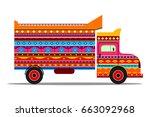 vector design of truck of india ... | Shutterstock .eps vector #663092968