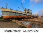old shipyard repair boat ... | Shutterstock . vector #663093922