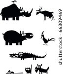 Stock vector funny vector animal silhouettes 66309469