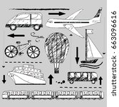 transport icons set   pencil... | Shutterstock .eps vector #663096616