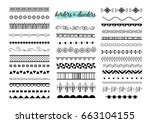 seamless line borders set | Shutterstock .eps vector #663104155