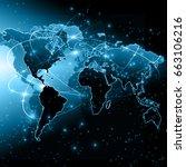 world map on a technological... | Shutterstock . vector #663106216
