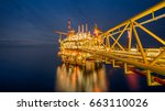 industrial petroleum production ... | Shutterstock . vector #663110026
