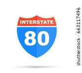 interstate highway 80 road sign | Shutterstock .eps vector #663117496