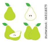 pear fruit illustration vector... | Shutterstock .eps vector #663118375