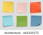 Stock vector vector illustration of multicolor post it notes isolated on transparent background 663120172