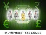 3d people around dollar sign | Shutterstock . vector #663120238