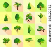 tree type forms icons set. flat ... | Shutterstock . vector #663122752