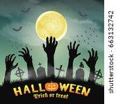 halloween silhouette zombie... | Shutterstock .eps vector #663132742