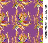 hand drawn floral texture ... | Shutterstock . vector #663137785