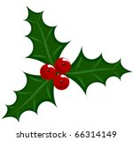 Holly berry icon - symbol of Christmas vector illustration - stock vector