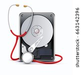 vector illustration of computer ... | Shutterstock .eps vector #663142396