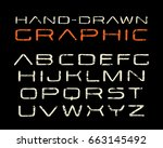 sanserif font in the style of... | Shutterstock .eps vector #663145492