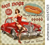 hot dog vintage poster with pin ... | Shutterstock . vector #663147325