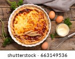 quiche with ingredient on... | Shutterstock . vector #663149536