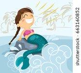little mermaid   vector...   Shutterstock .eps vector #663160852