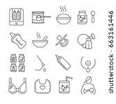 set of baby food related vector ... | Shutterstock .eps vector #663161446