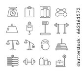 set of weight related vector... | Shutterstock .eps vector #663161572