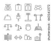 set of weight related vector... | Shutterstock .eps vector #663161572