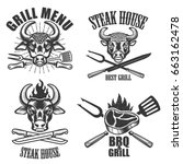 set of steak house labels and...   Shutterstock .eps vector #663162478