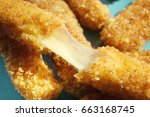 plate with cheese sticks ... | Shutterstock . vector #663168745
