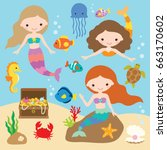 vector illustration of cute... | Shutterstock .eps vector #663170602