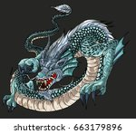 hand drawn blue dragon vector... | Shutterstock .eps vector #663179896