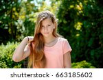 young teenage girl with long... | Shutterstock . vector #663185602