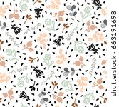 seamless pattern with twigs and ... | Shutterstock .eps vector #663191698