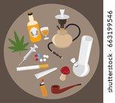 drugs flat icons set. marijuana ...   Shutterstock .eps vector #663199546