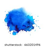 colorful blue watercolor spot.... | Shutterstock . vector #663201496