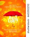 beautiful flyer with umbrella... | Shutterstock .eps vector #663202252