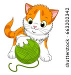 Stock vector cute cartoon spotted kitten playing with a ball of yarn cartoon kittens series 663202342