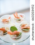 selective focus on spicy prawn... | Shutterstock . vector #663203452