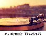 turntable vinyl record player... | Shutterstock . vector #663207598