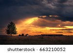 beautiful rural scene after the ... | Shutterstock . vector #663210052