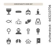 christianity icons set on white ... | Shutterstock .eps vector #663210706