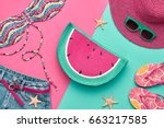 fashion. summer clothes ... | Shutterstock . vector #663217585