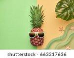 fashion hipster pineapple.... | Shutterstock . vector #663217636