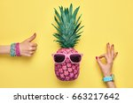 fashion hipster pineapple.... | Shutterstock . vector #663217642