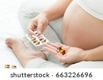 medicine capsule and pregnant... | Shutterstock . vector #663226696