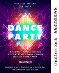 dance party poster vector... | Shutterstock .eps vector #663230098