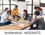 group of five creative worker... | Shutterstock . vector #663236572