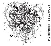 Stock vector hand drawn beautiful roses in linear style with sacred geometry and stars tattoo art graphic 663239335